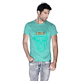 Creo Cyan Orange Coco Skull T-Shirt For Men - M, Green