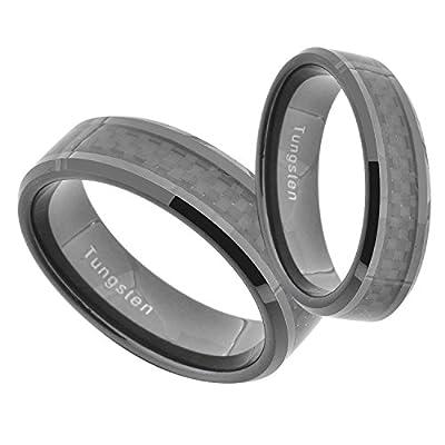 Black Tungsten His & Hers Wedding Ring Sets Black Carbon Fiber Beveled Edge 6&8mm hot sale