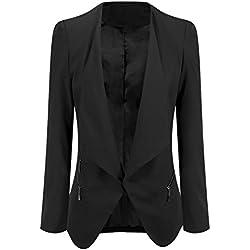 Grapent Women's Black Open Front Draped Asymmetric Side Zip Business Blazer Jacket US 14