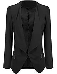 Women's Open Front Draped Asymmetric Side Zip Business Blazer Jacket