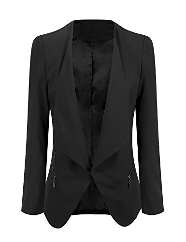 Grapent Women's Black Open Front Draped Asymmetric Side Zip Business Blazer Jacket US 18