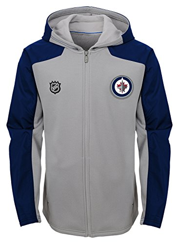 3ed885efd1ab3 NHL by Outerstuff Winnipeg Jets Youth Boys Delta Full Zip Jacket,  Medium(10-12), Magenta Pique Heather