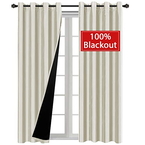 Nickel Black Silk - H.VERSAILTEX Premium 100% Blackout Blinds Complete Blackout Shades for Large Window Door Functional Faux Silk with Liner, Energy Smart & Thermal Insulated, Nickel Grommet, 52 x 96 Inch