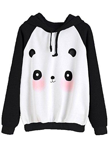Panda Hoodie (MakeMeChic Women's Casual Cartoon Print Raglan Pullover Hoodie Sweatshirt Black M)