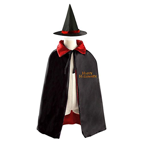 [RODONOHalloween Happy Children Cosplay Costume Wizard Witch Cloak Halloween Cape With Hat] (Yellow Lab Coat Costume)