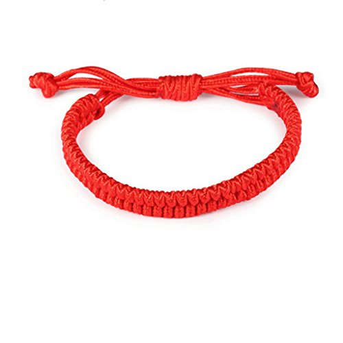 MoAndy Rope Surfer Hawaiian Style Bracelet Anklet Handmade Adjustable Length 15-20 CM Red