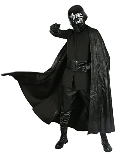 Adult Kylo Ren Hooded Cloak & Scarf & Gloves Outfit Costume for Halloween Cosplay (Lord Helmet Halloween Costume)