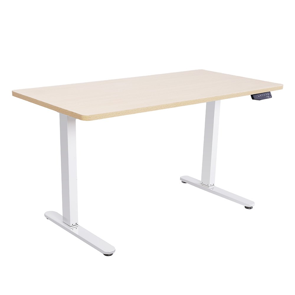 Mingo Labs TPL200W Adjustable Height Sit and Stand Desk with Control Pad and Double Motor for Heavier Lifting, Natural Oak