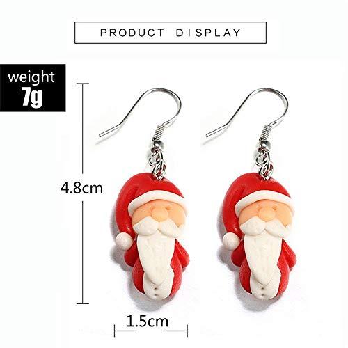 Jewelry Handmade Hook Ear Stud Santa Claus Polymer Clay Christmas Earrings