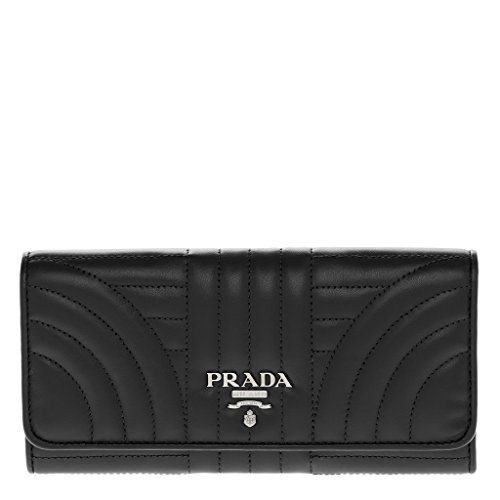 Prada Women's Quilted Calf Leather Wallet Black by Prada