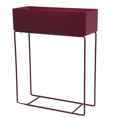 Plant Stand Iron Flower Stand Room Built-in Shelf Balcony Plant Window Sill Flower Shelf, Black/Wine Red/Green/Milky White CONGMING (Size : Wine red - Rectangle - Trumpet) ()