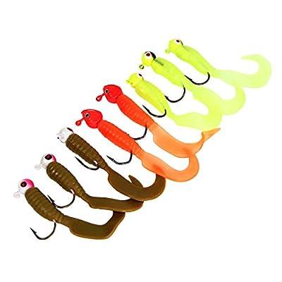 bouti1583 Fishing Tackle Lures Baits Jigs Set Soft Head Hook Worm Tail Shape Set of 17 pcs
