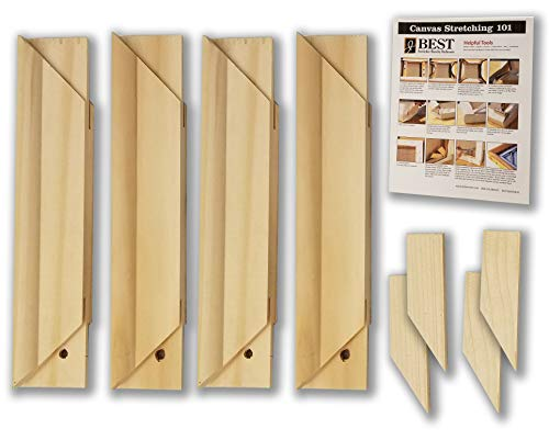 - Stretcher Bar Bundle-Jack Richeson Light Duty Stretcher Bars, 8 Qty 4; Wood Keys; Canvas Stretching 101 Guide (9 Items)