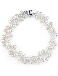 4-5mm Rice Shaped Genuine White Freshwater Cultured Pearl Bracelet for Women