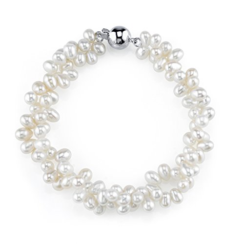THE PEARL SOURCE 4-5mm Rice Shaped Genuine White Freshwater Cultured Pearl Bracelet for Women