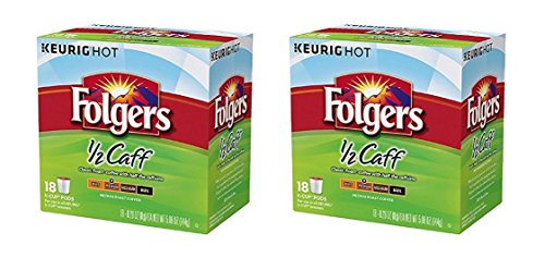 36 Count - Folgers Half Caff Coffee K-Cups for Keurig K Cup Brewers and 2.0 Brewers
