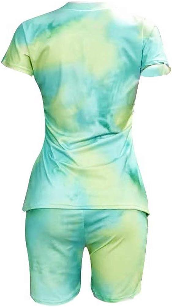 JURIS Womens 2 Piece Tracksuit Tie Dye Short Sleeve T-Shirt Shorts Set Outfits