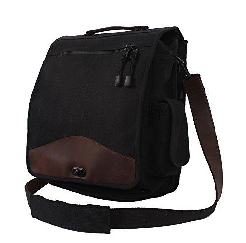 Vintage BLACK M-51 Engineer Shoulder Messenger Bag w/ Leather Accents