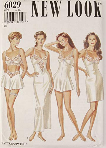 New Look 6029 Sewing Pattern (Size 6-16) Teddy, Slip Bra top, French Knickers, Tap Pants, Bridal Underwear