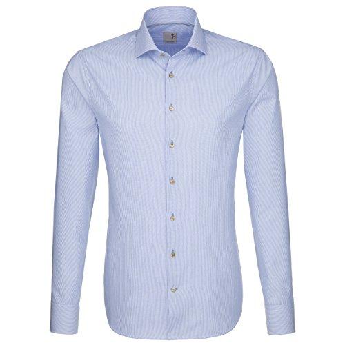 Seidensticker Herren Langarm Hemd Schwarze Rose Slim Fit blau / weiß gestreift 241347.12