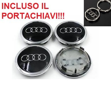 4 Tappi Coprimozzo AUDI 69mm A3 A4 A5 A6 TT RS4 Q5 Q7 S4 A8 Cerchi Lega Borchie W
