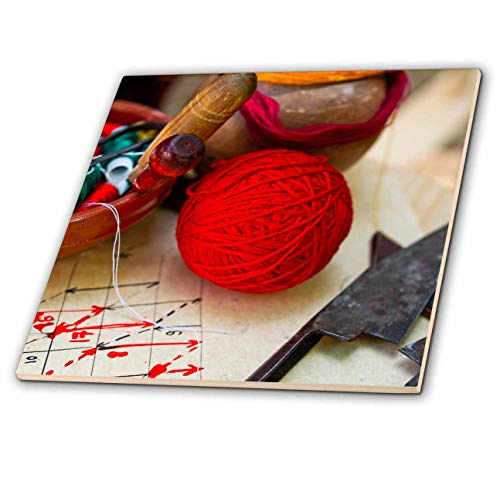 - 3dRose Alexis Photography - Objects Handicraft - A Ball of red Yarn, a Bowl of spools of Threads, Scissors. Needlework - 6 Inch Glass Tile (ct_308096_6)