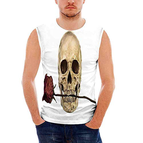 Mens Workwear Gothic Decor Ultra Cotton Tank,Skull with Dry Red Rose in Teeth A