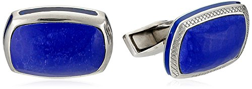 Tateossian Silver Matt Lapis Blue Cushion Rectangular Blue Opaque Enamel Signature Pillow Cuff Link by Tateossian