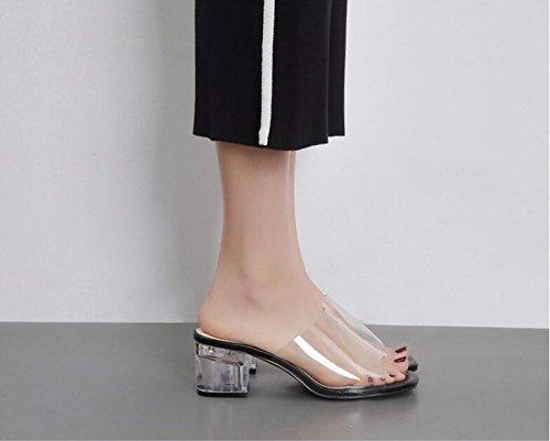 con scarpetta trasparenti spessi corrisponde di le bocca pantofole pesce 39 pantofole estiva black GTVERNH tutto qXwSIX