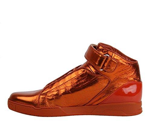Gucci Men's Orange Napa Shinny Leather High-top Velcro Sneakers 337216 7581 Gucci 9.5 G US 10
