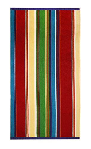 Cotton Craft Terry Beach Towel 30x60-2 Pack - Springfield Multi Stripe - 400 grams per square meter - 100% Pure Ringspun Cotton - Brilliant intense vibrant colors - Highly absorbent - Beach Towel Craft