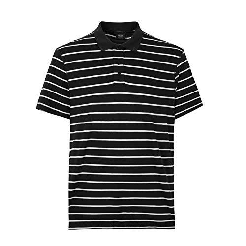 Men's Classic Fit 100% Cotton Soft Short Sleeve Stripe Polo Shirt (Black,XL)