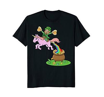 Leprechaun Riding A Unicorn - Funny St Patricks Day Shirts