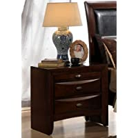 Roundhill Furniture Emily 111 Contemporary Solid Wood Construction Night Stand, King, Merlot