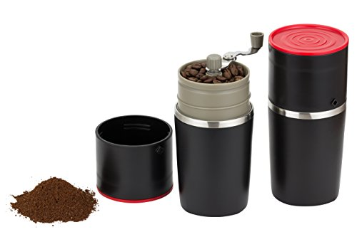Infinite Coffee's Grind and Brew Master – Manual Coffee Grinder and Bonus Portable Coffee Brewer – Unique Manual Ceramic Burr Coffee Grinder that Can Also Brew