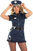 Ladies Sexy Police Woman Cop Emergency Services Hen Do Fancy Dress Costume Outfit UK 8-26 Plus Size (UK 8-10)