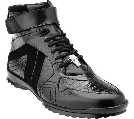 (Belvedere Men's Rino Ostrich High Top Sneaker,Black Ostrich/Suede/Soft Calf,US 1)