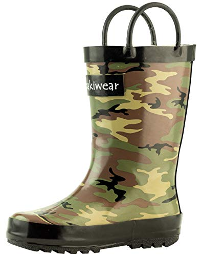 OAKI Kids Rubber Rain Boots with Easy-On Handles, Army Camo, 4Y US Big Kid