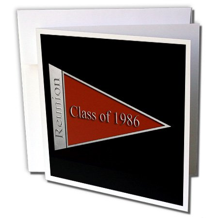 3dRose Beverly Turner Class Reunion Design - Class Reunion Design 1986 Red - 12 Greeting Cards with envelopes (gc_18786_2)