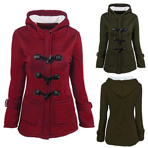 Outwear à vestes femmes longues ❤ Plus à boutonnées Size élégant Vicgrey Green manches Manteau épaissie Vestes Parka pour capuchon xYgSqfPn1w