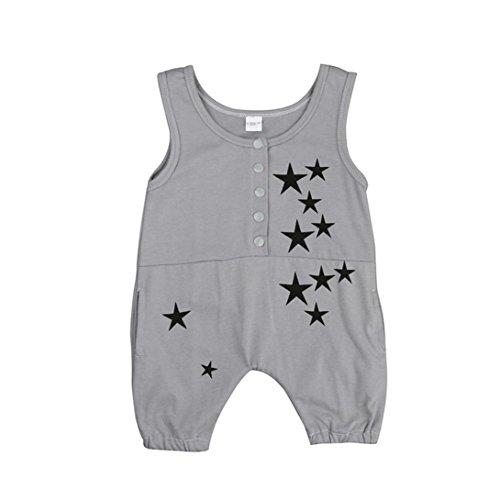 Saingace Bébé Filles Garçons Impression Sans manches Romper Combinaison vêtements Ensemble (Label Size:90(12-18mois))