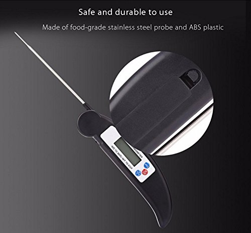 Lighting Mall Digital Food Thermometer for Kitchen Cooking, bbq, Meat (Bright Black)