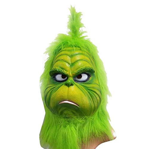 (Clearance Sale!DEESEE(TM)Christmas Grinch Mask Melting Face Latex Costume Collectible Prop Scary Mask Toy)