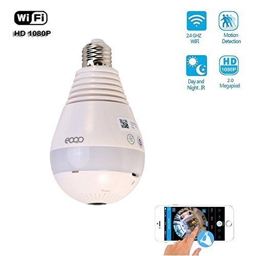 Security Camera Light Bulb Panoramic IP Camera, eoqo Indoor/Frontdoor 1080P 360 Wide Angle Fisheye WiFi Security Camera with V380 APP Remote Control Lighting Smartcamera