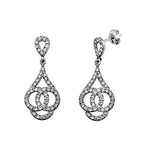 Boucled'oreille 18k blanc longues cercles d'or de zircone cubique [AA5351]