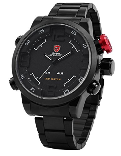 - Gulper Shark Men's LED Digital Date Day Sport Black Stainless Steel Alarm Quartz Wrist Watch SH108