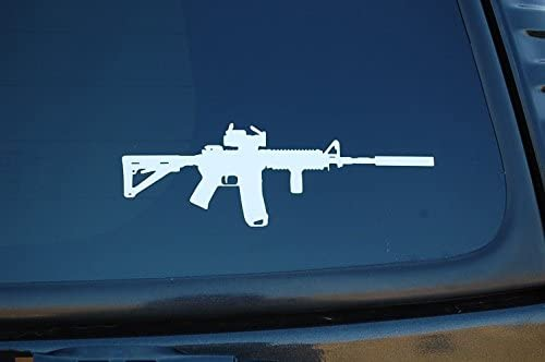 AR15 M4 Gun Sticker Vinyl Decal Choose Size & Color NRA Assault Rifle (V372) (5 White)