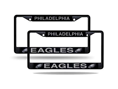 (Philadelphia Eagles Official NFL (Set of 2) Black Metal License Plate Frame, NFL Official License)