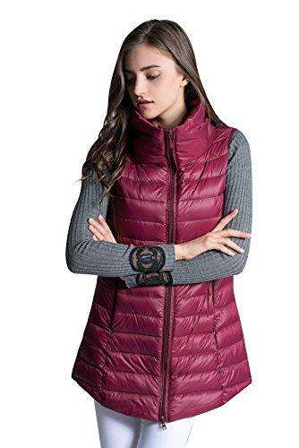 Duck Down Vest - ELFJOY Women's Mid Long Down Vest Lightweight Puffer Vest Coat Jacket Stylish Windbreaker Wine-red Large