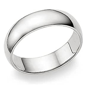 6MM Sterling Silver High Polish Plain Dome Tarnish Resistant Comfort Fit Wedding Band Ring Sz 6